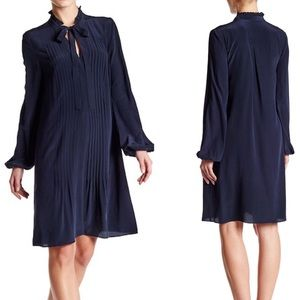 Elie Tahari | Silk Pleated Self Tie Navy Dress